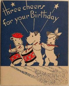 Gemelas Vintage birthday card with Fox Terriers Fox Terriers, Chien Fox Terrier, Wirehaired Fox Terrier, Wire Fox Terrier, Sealyham Terrier, Vintage Birthday Cards, Vintage Greeting Cards, Vintage Postcards, Westies