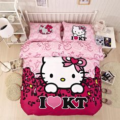 Warm And Sweet Hello Kitty Comforters Pink Bed Sets Girls Bedding Sets In Great Demand Hello Kitty Lit, Hello Kitty Bedroom, Hello Kitty House, Pink Bedding Set, 3d Bedding Sets, Girls Bedding Sets, Kawaii Bedroom, Beige Bed Linen, Hello Kitty Pictures