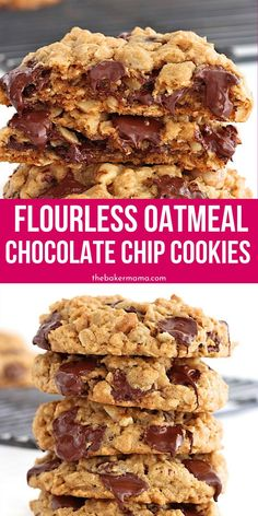 Green Kitchen Flourless Oatmeal Chocolate Chip Cookies are chewy and loaded with chocolate chips. These cookies are the ultimate dessert, and are a flourless cookies but taste amazing. Flourless Chocolate Chip Cookies, Flourless Desserts, Oatmeal Chocolate Chip Cookie Recipe, Recipes With Chocolate Chips, Easy Cookie Recipes, Baking Recipes, Cake Recipes, Brownie Recipes, Oatmeal Dessert