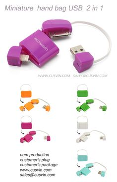 USB CABLE KIT 2in1 Miniature handbag USB CABLE KIT. Lovely lady's handbag shaped USB cable, delicate, light weight, tiny size •2 in 1 design, 3 connectors, one USB connector