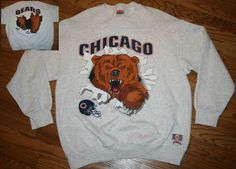Vintage Chicago Bears Football 2-sided Sweatshirt Shirt Men's X-Large XL Nutmeg #Nutmeg #ChicagoBears