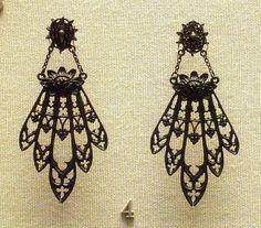 Berlin iron earrings 19c  British Museum Such a fascinating story behind the beautiful Berlin Iron jewelry.