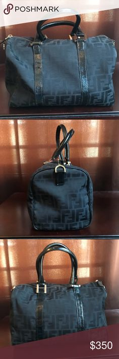 Fendi zucca Satchel Fendi Zucca Satchel in Black. Approx the size of a  Louis Vuitton 9f842fd9c5a23