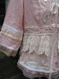 ROMANTIC.. upcycled jacket, Vintage Kitty ..gorgeous dusky pink linen.. doilies, lace, roses..  MED/LG. $229.00, via Etsy.