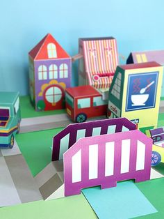 Free printable neighborhood - 35+ paper toy houses, cars, people, roads, and bridge to download, print, and make. via SmallforBig.com