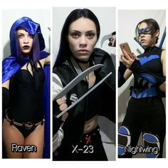 These are my 3 cosplays the Raven I did with the help of a seamstress while the other 2 (X-23 and NightWing) were made entirely by me. Each of them is a pride to me and each of them carries a different feeling that I feel for each episode. These are just the ones I finished because I still feel like doing several others. . .  Estes são os meus 3 cosplays a Raven eu fiz com ajuda de uma costureira já os outros 2 (X-23 e Asa Noturna) foram feitos inteiramente por mim. Cada um deles é um…