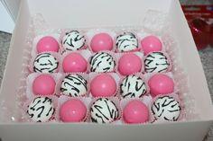 Hot pink & Zebra print cake bites by bitesizedelights on Etsy
