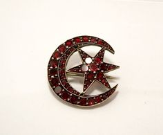Bohemian Garnet Brooch Victorian Silver Crescent Moon Star Table Cut Rose Cut 1800's Antique by Oldtreasuretrunk on Etsy