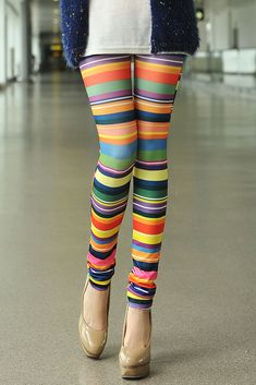 Chromatic Stripe Printed Leggings