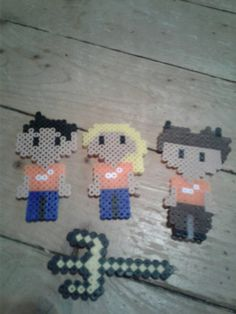 Perler bead, Percy Jackson, Annabeth Chase,  and Grover Underwood with Trident