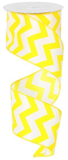 "2.5"" X 10YD SATIN CHEVRON - YELLOW #chevron #ribbon #satin #yellow"