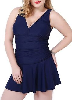 Padded Navy Blue Open Back Swimdress  on sale only US$36.66 now, buy cheap Padded Navy Blue Open Back Swimdress  at lulugal.com
