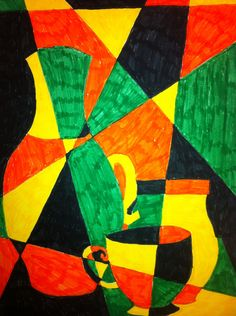 Cubism Pottery: Draw at least 3 jars. Then draw 7 non Parallel lines through the whole composition. With 3 analogous colors & black markers, color each shape formed by the lines of the pots and drawn lines. Try not to let any 2 same colors be side by side. However they can touch at the corner. This helps students think abstractly causing the objects to fade into the area around them.