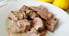 Filetto brasato al limone, dei teneri bocconcini che uno tira l'altro!! Per la ricetta >> http://creativaincucina.blogspot.it/2016/04/filetto-brasato-al-limone.html braised fillet with lemon, some tender morsels that one leads to another !! For the recipe >> http://creativaincucina.blogspot.it/2016/04/filetto-brasato-al-limone.html