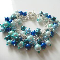 Blue Pearl Charm Bracelet|Unique Pearl Bracelet Wedding Prom