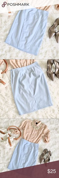 Pencil Skirt This is a perfect skirt for the office, in a beautiful pastel blue (if you're from NC, the color is Carolina blue 😏). Size is 0 Tall.   Measurements lying flat:  Waist: 14in Length top to bottom: 21.5 in The Limited Skirts Pencil