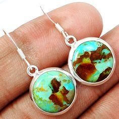Blue Turquoise From Arizona 925 Sterling Silver Earrings Jewelry BMTE481 - JJDesignerJewelry