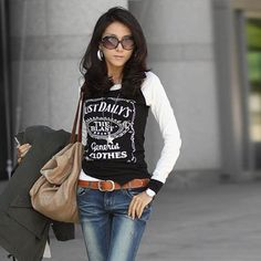 Slimming Letters Printed Long Sleeves Cotton Blend T-Shirt For Women, BLACK, ONE SIZE in Tees & T-Shirts   DressLily.com