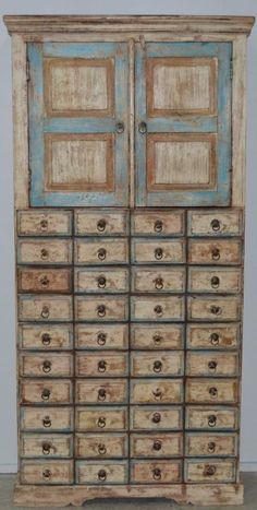 Cupboard Cabinet Apothecary Storage Country Chic Designer Decorator Rustic Hutch