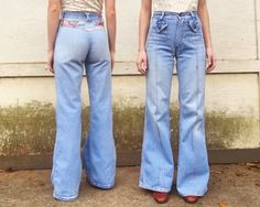 040ce8acd17 Vintage 1970s Faded Glory Light Wash Denim Distressed + Rear Embroidered  Multicolor Sunset Bell Bottom Hippie
