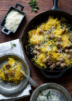 Roasted Spaghetti Squash with mushrooms (I know the recipe calls for sausage but I would replace that with mushrooms and some extra spice!)