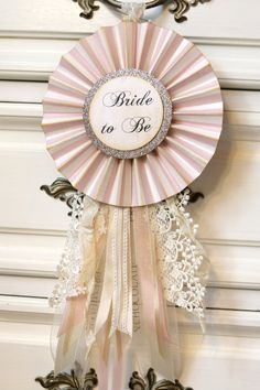 "Victoria inspired BRIDE to BE trophy ribbon with vintage lace & ribbon. large 6"" rosette. bridal shower or wedding decor"