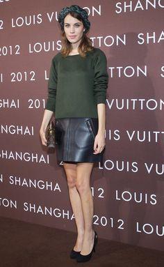 Alexa Chung // dark green and black leather