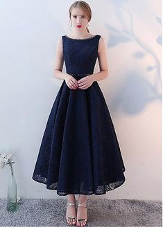 Wedding Dresses Ball Gown, Fashionable Lace Jewel Neckline Tea-length A-line Homecoming Dresses With Beadings DressilyMe Tea Length Bridesmaid Dresses, Tea Length Dresses, Ball Dresses, Ball Gowns, Evening Dresses, Elegant Homecoming Dresses, Backless Prom Dresses, Elegant Dresses, Nice Dresses