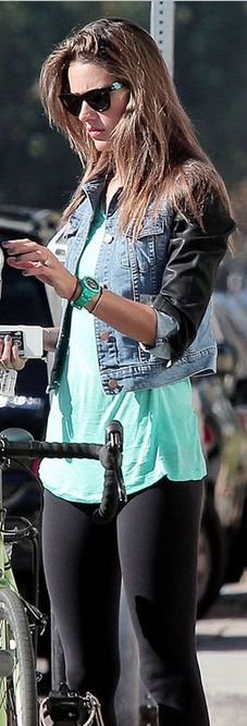 Who made Alessandra Ambrosio's black sunglasses and denim and leather jacket that she wore in Los Angeles?