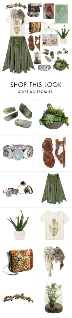 """""""Secret garden"""" by nika105 ❤ liked on Polyvore featuring Diane James, Made Her Think, Lux-Art Silks, Monki, Shared Earth and Nearly Natural"""