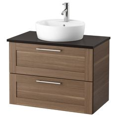 IKEA HÖRVIK/GODMORGON/TOLKEN Wsh-stnd w countrtop wsh-bsn Walnut effect/anthracite 82 x 49 x 72 cm 10 year guarantee. Read about the terms in the guarantee brochure. Ikea Bathroom Vanity, Ikea Sinks, Bathroom Styling, Bathroom Bin, Basement Bathroom, Bathroom Rugs, Bathroom Storage, Vanity Countertop, Ikea Us