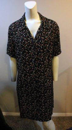 $29.95 Eddie Bauer Dress Black Coffee Bean Short Sleeve XL 14 16 Button Front Shirt | eBay
