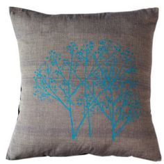Union- Three Cyan Trees on Grey | Sustainable threads | fair-trade handmade products