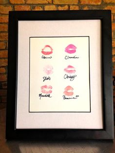 SUCH a cute idea for a DIY bachlorette gift! Loving lipstick art right now, especially as a personalized gift.