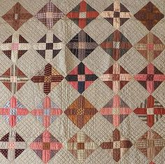 """Antique 1890s Cotton Fabric Quilt Hand Sewn Hand Quilted Cross Pattern 85"""" x 75"""""""