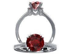 Victorian inspired 14k white gold Engagement by WinterFineJewelry, $1060.00