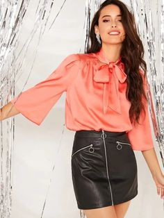 Orange Glamorous Stand Collar Three Quarter Length Sleeve Satin Plain Fabric has no stretch Spring/Summer Blouses, size features are:Bust: ,Length: Regular ,Sleeve Length:Three Quarter Length Sleeve Sexy Blouse, Tie Neck Blouse, Blouse And Skirt, Blouse Outfit, Spring Shirts, Spring Tops, Satin Blouses, Satin Dresses, Types Of Sleeves