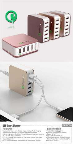 5V/8A 5-Port High Speed Charging Station USB Wall Charger for Iphone /Ipad,Smartphones ,Tablets,Camera ,MP3&MP4