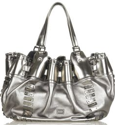 ♥MET♥ 9  METALLIC SILVER LEATHER PURSE