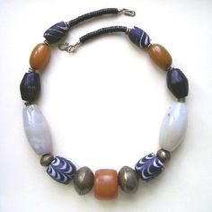 African necklace african amber and white agate by StudioKroko Ethnic Jewelry, Beaded Jewelry, Unique Jewelry, African Necklace, White Agate, Ethnic Fashion, Necklaces, Bracelets, Jewelry Making Supplies