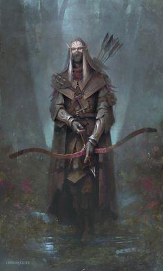 m High Elf Rogue Assassin Med Armor Longbow mixed forest ArtStation - Forest shade, Alexander Borodin High Fantasy, Fantasy Rpg, Dark Fantasy Art, Medieval Fantasy, Fantasy Artwork, Elf Characters, Dungeons And Dragons Characters, Fantasy Characters, Elf Warrior