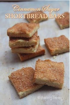 Eggless Cinnamon Sugar Shortbread Bars Recipe - Yummy Tummy