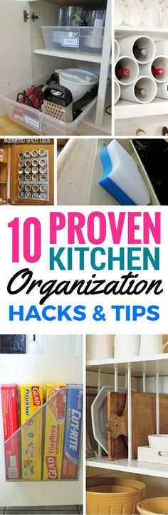 10 DIY Kitchen Organization Ideas For The Home - Absolutely epic ways to easily organize your kitchen that are cheap and quick! These kitchen organization ideas will show you how to make use of cabinets, rods, magnets in small or big places and so much more. Indeed life changing kitchen tips!