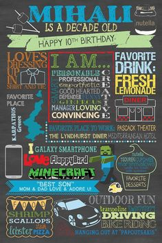 CUSTOM Birthday Chalkboard Poster - Digital File Only - mine boy tenth birthday favorite things