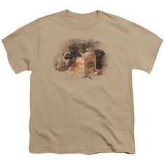 Wildlife Box Boys Black Labs Sand Youth T-Shirt