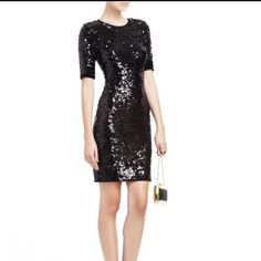 Bcbg Black Sequence Dress Size Small