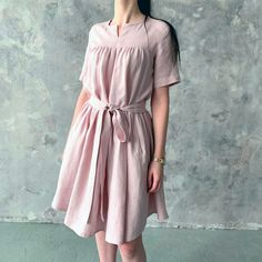 4938bb6d9ab Linen loose ruffle dress with sleeves and belt