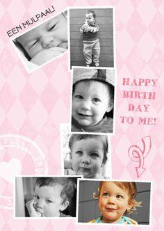 Prachtige fotokaart voor 1 jarig meisje met eigen foto's. Hippe uitnodiging en origineel voor prachtig levensjaar van je dochter. Zus&ik ontwerp