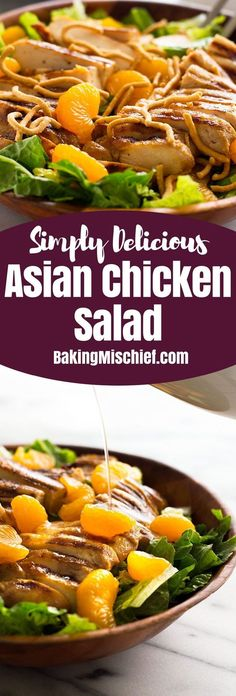 A light and healthy Asian chicken salad. Simple, delicious, yum. From http://BakingMischief.com