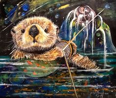 Space Ottersy Mixed Media 14x17